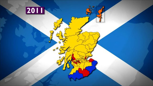 Electoral map of Scotland after the Holyrood election in May