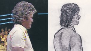 John Cooper appearing on Bullseye and an artist's impression released by police in July 1989