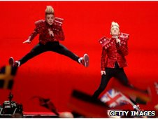 Jedward performing at Eurovision