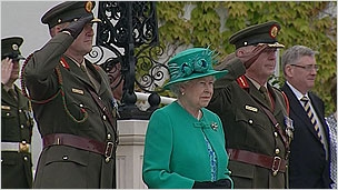 The Queen watches a 21-gun salute
