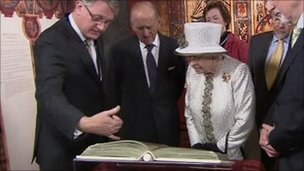 The Queen examined the Book of Kells