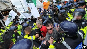 Protesters and police clash in Dublin.