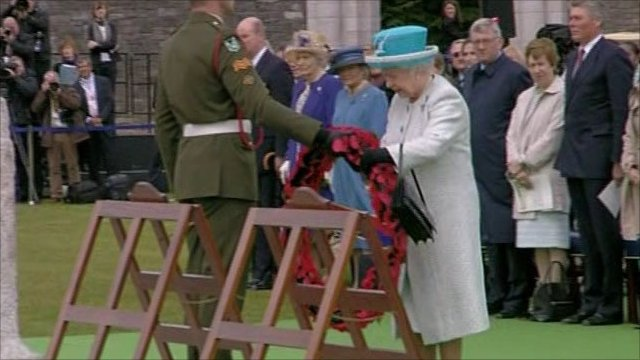 The Queen has laid a wreath at the Irish War Memorial in Islandbridge.