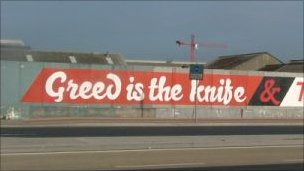 Greed is the knife graffiti