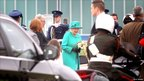 Queen Elizabeth II and the Duke of Edinburgh are greeted by Tanaiste Eamon Gilmore (front) upon arrival at Casement Aerodrome, Baldonnel, ahead of a four day state visit.