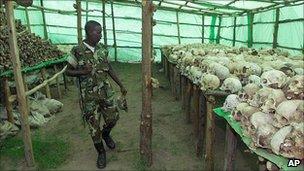 Rwandan soldier at the genocide memorial in Bisesero, Rwanda