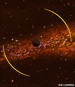An artist's impression of how one the rogue planets acts as a lens, bending the light of a distant star