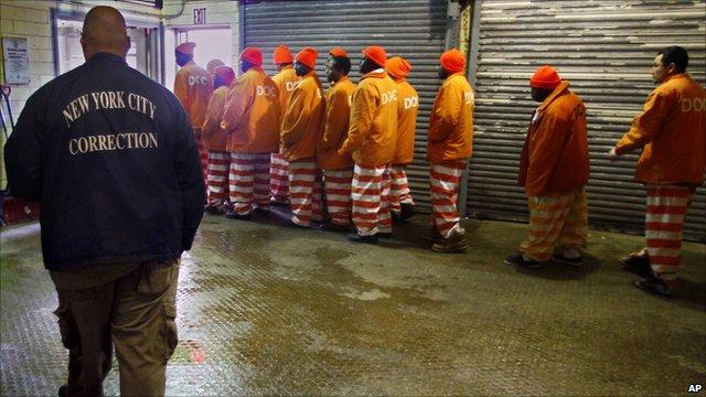 Inmates at the Rikers Island jail