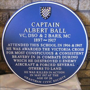 The blue plaque honouring Captain Albert Ball