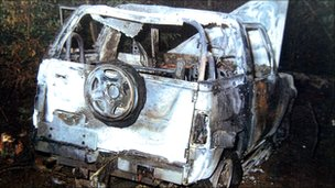 Wreckage of car