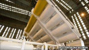 Oyster wave power machine. Image: Aquamarine Power