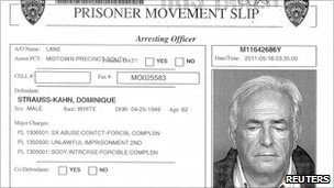 NYPD prisoner movement slip for former IMF chief Dominique Strauss-Kahn