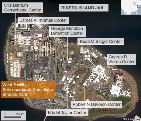 Labelled view of Rikers Island Jail