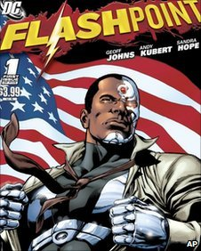 "comic book cover released by DC Comics, Cyborg is shown on the cover of ""Flashpoint."""