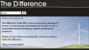 Screengrab from BBC's Sustainability website