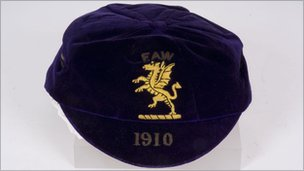 Billy Meredith's 1910 Wales international cap (picture courtesy of Wrexham County Borough Museum and Archives)
