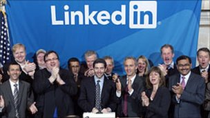 LinkedIn executives ring the NYSE opening bell