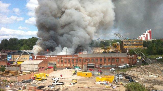 Smoke coming from a scrapyard in Byker. Picture: Bernard Wills