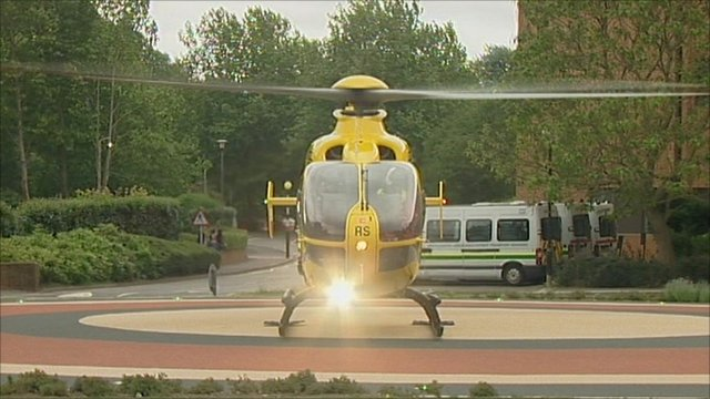A helicopter on the helipad at Musgrove Park Hospital in Taunton