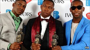 Award winners Labrinth, Dizzee Rascal and Tinie Tempah