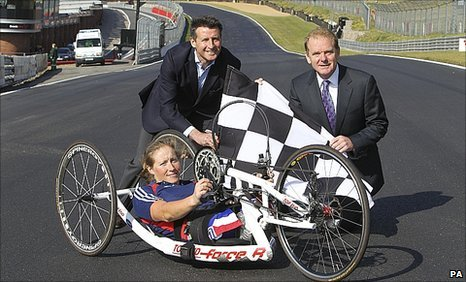 Paralympic gold medallist Rachel Morris, with Seb Coe and Jonathan Palmer at Brands Hatch