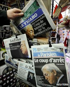 French newspapers with headlines about Dominique Strauss-Kahn, May 2011