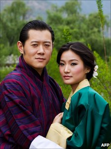 This undated handout photograph shows the King of Bhutan, Jigme Khesar Namgyel Wangchuck (L) and the future Queen of Bhutan, Jetsun Pema