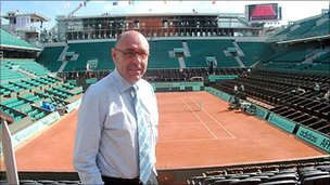French Open tournament director Gilbert Ysern inside the main Court Philippe Chatrier at Roland Garros