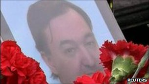 Flowers outside grave of Sergei Magnitsky