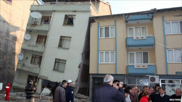 Damaged buildings in Simav