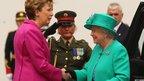 Irish President Mary McAleese greets the Queen at Aras an Uachtarain, her official residence