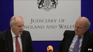Lord Chief Justice Igor Judge and Lord Neuberger, the Master of the Rolls introducing the report