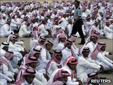 Saudi men at cultural festival 