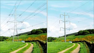 Pylon v folded plate design - offered as an alternative in National Grid consultations