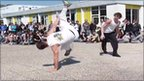 Students from Lycee Andre Malraux practice capoeira