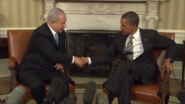 US President Barack Obama and Israeli Prime Minister Benjamin Netanyahu at the White House.