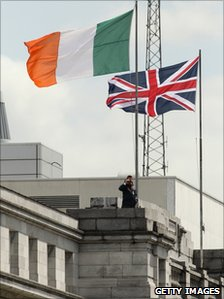 The Irish flag flew next to the Union flag in Cork