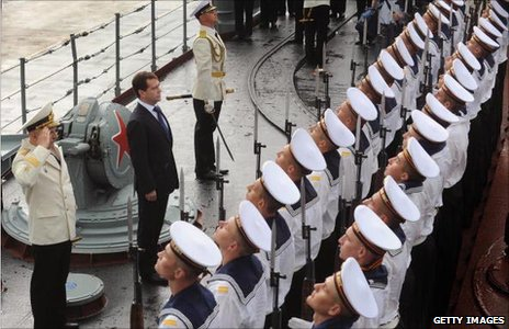 President Dmitry Medvedev, Russian sailors