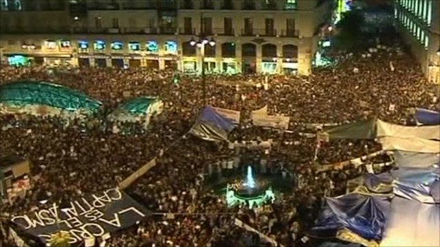 Protests in Madrid square