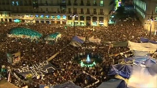 Protest in Madrid Square