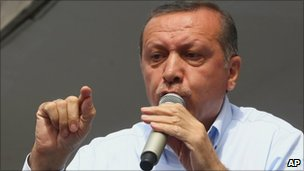 Turkish Prime Minister Recep Tayyip Erdogan addresses supporters at an election rally on 17 May 2011.