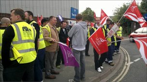 The refuse collectors on strike in Southampton