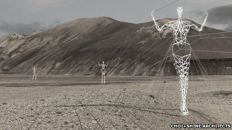 Humanoid pylons ©Choi+Shine Architects, LLC, all rights reserved