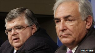 Agustin Carstens (left) and Dominique Strauss-Kahn