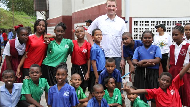 Matthew Pinsent visits a Primary School in Trinidad