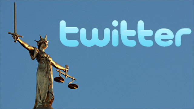 Lady Justice with the twitter logo
