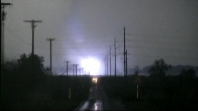 Lightening bolt during the tornado