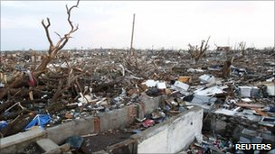 Blocks of homes lie in total destruction after a tornado hit Joplin, Missouri, 23 May, 2011