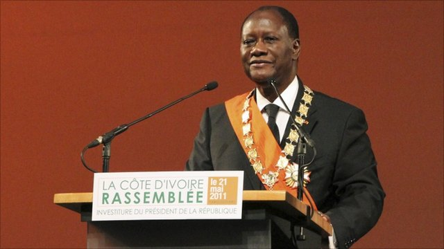 President Ouattara of Ivory Coast at his inauguration in Yamoussoukro.