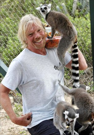 Richard Branson with ring-tailed lemur